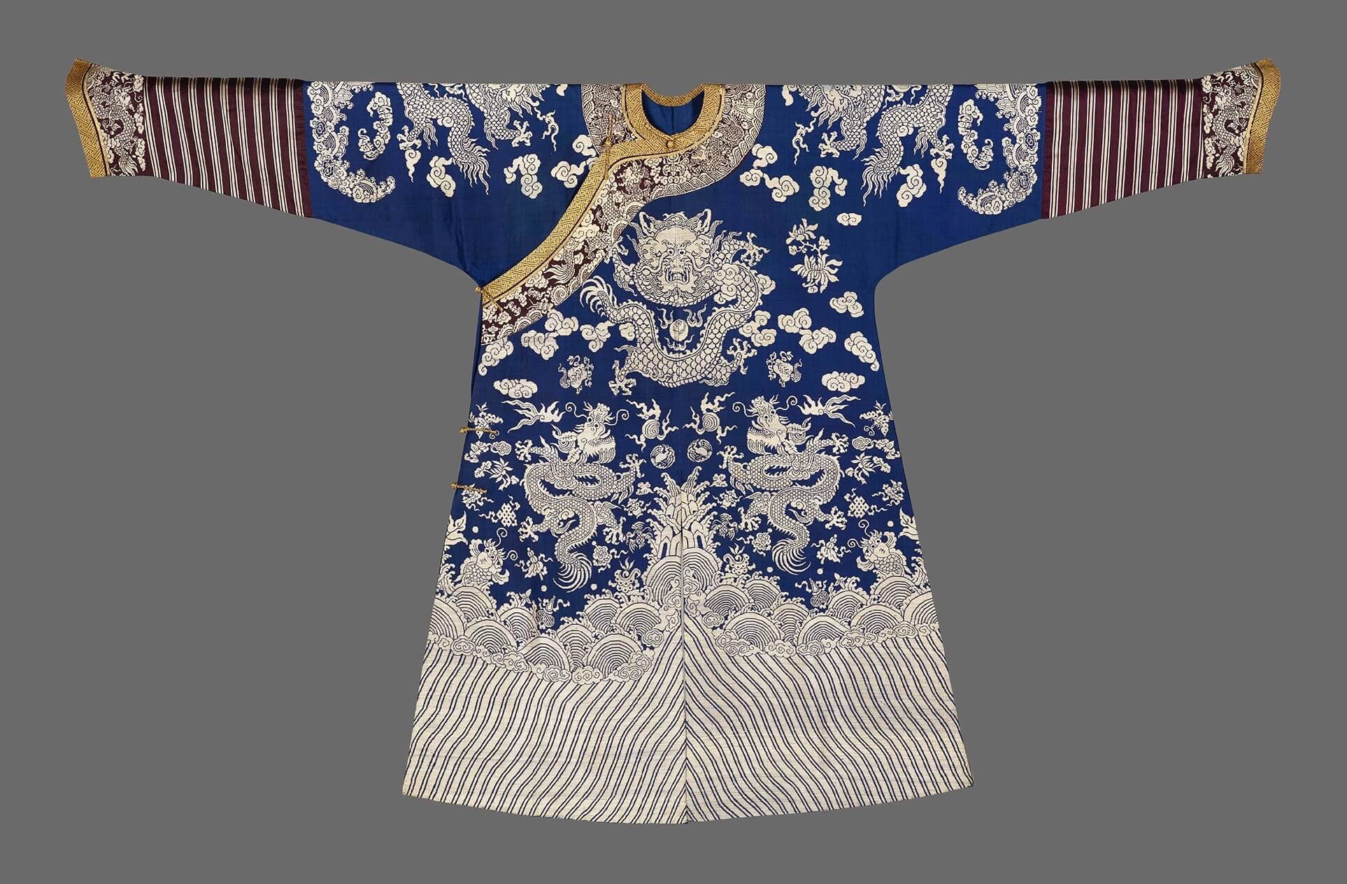 A blue and white silk brocade dragon robe