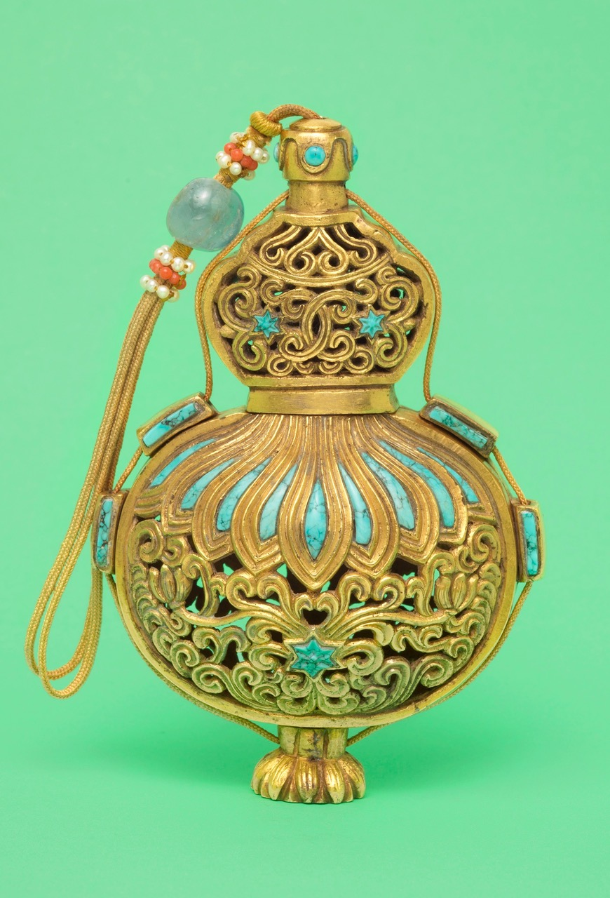 gold and turquoise scent bottle approx 9.5 cm tall