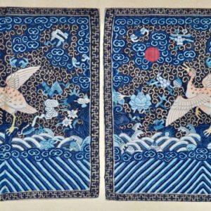 A Pair of Silk Kesi Rank Badges,buzi, for a 4th Rank Civil Official