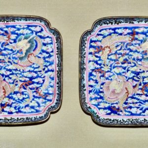 A Pair of Square Canton Enamel Small Dishes
