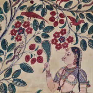 Detail of a Square Cotton Vrikshachari, or Varsha