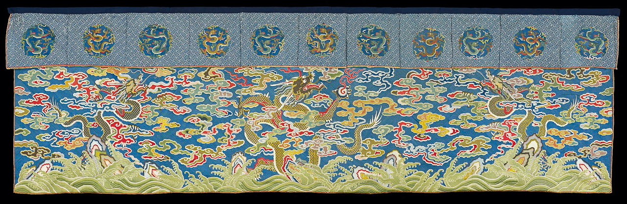 Table Frontal with Dragons on Blue